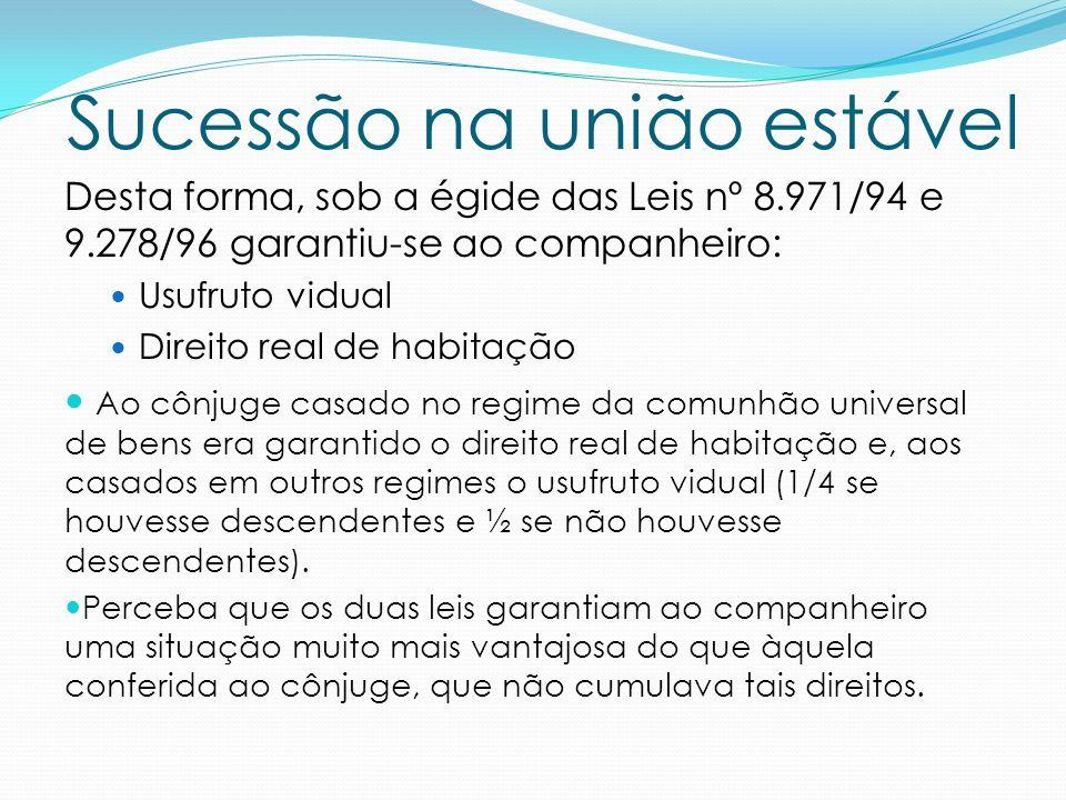 Sucessão na união estável A primeira polêmica que se instalou: A Lei nº 9.278/96 havia revogado a lei nº 8.971/94.
