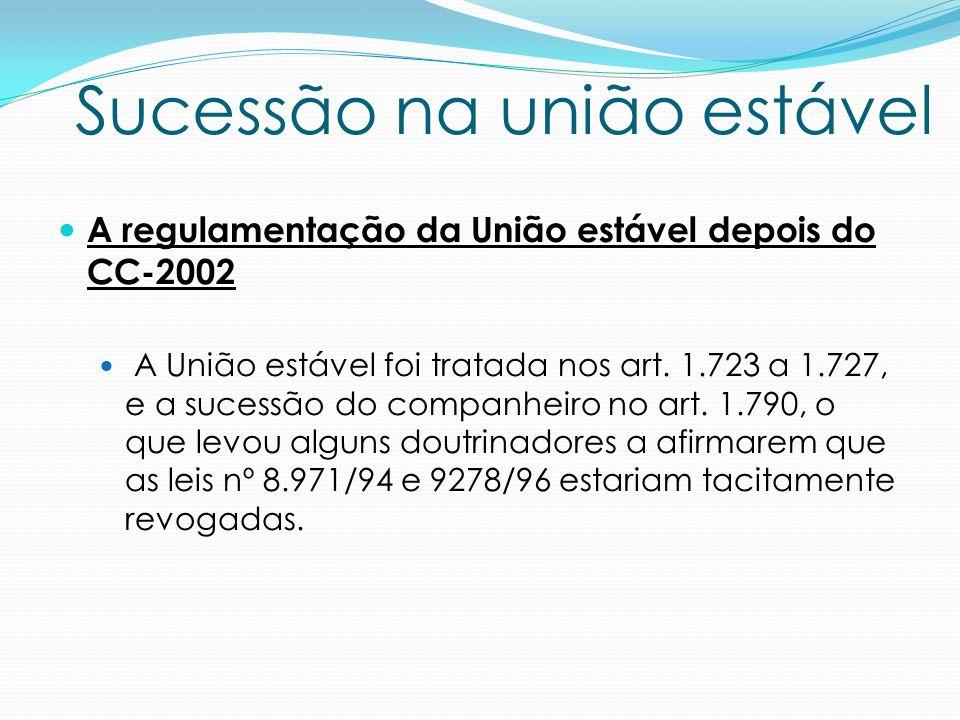 A regulamentação da União estável depois do CC-2002 A União estável foi tratada nos art. 1.723 a 1.727, e a sucessão do companheiro no art. 1.790, o q