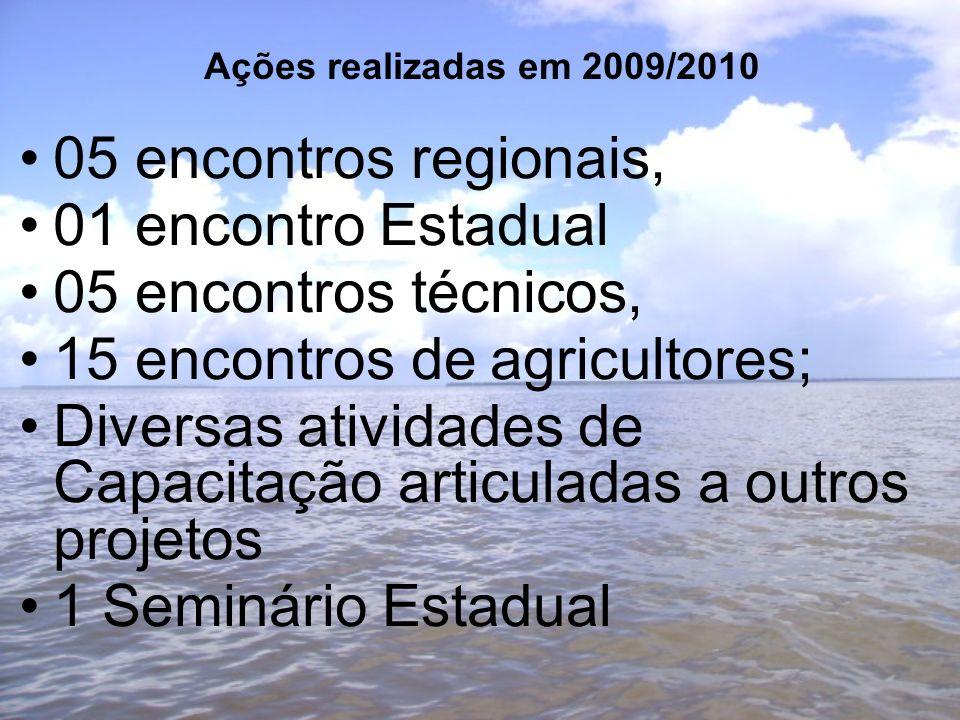Ações realizadas em 2009/2010 05 encontros regionais, 01 encontro Estadual 05 encontros técnicos, 15 encontros de agricultores; Diversas atividades de Capacitação articuladas a outros projetos 1 Seminário Estadual