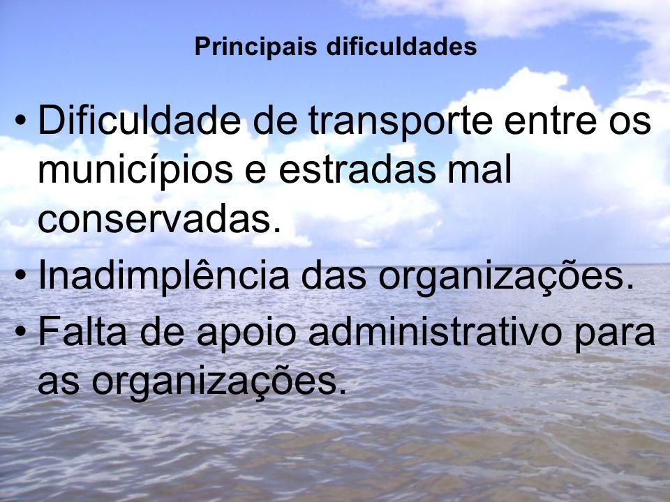 Principais dificuldades Dificuldade de transporte entre os municípios e estradas mal conservadas.