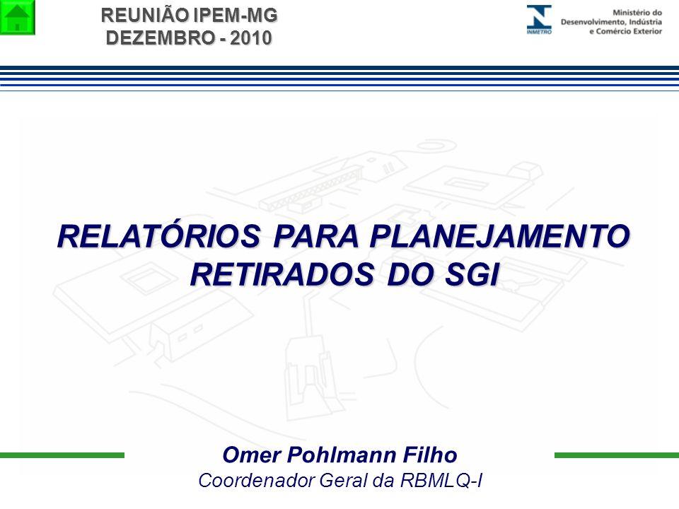 REUNIÃO IPEM-MG DEZEMBRO - 2010 RELATÓRIOS PARA PLANEJAMENTO RETIRADOS DO SGI Omer Pohlmann Filho Coordenador Geral da RBMLQ-I