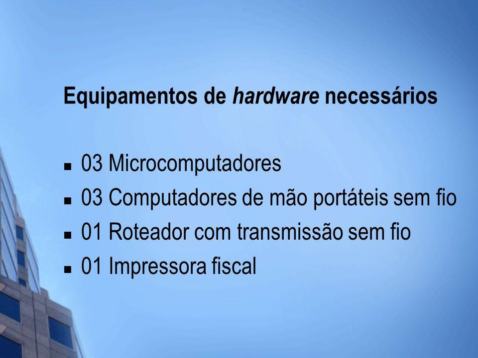 Equipamentos de hardware necessários 03 Microcomputadores 03 Computadores de mão portáteis sem fio 01 Roteador com transmissão sem fio 01 Impressora f
