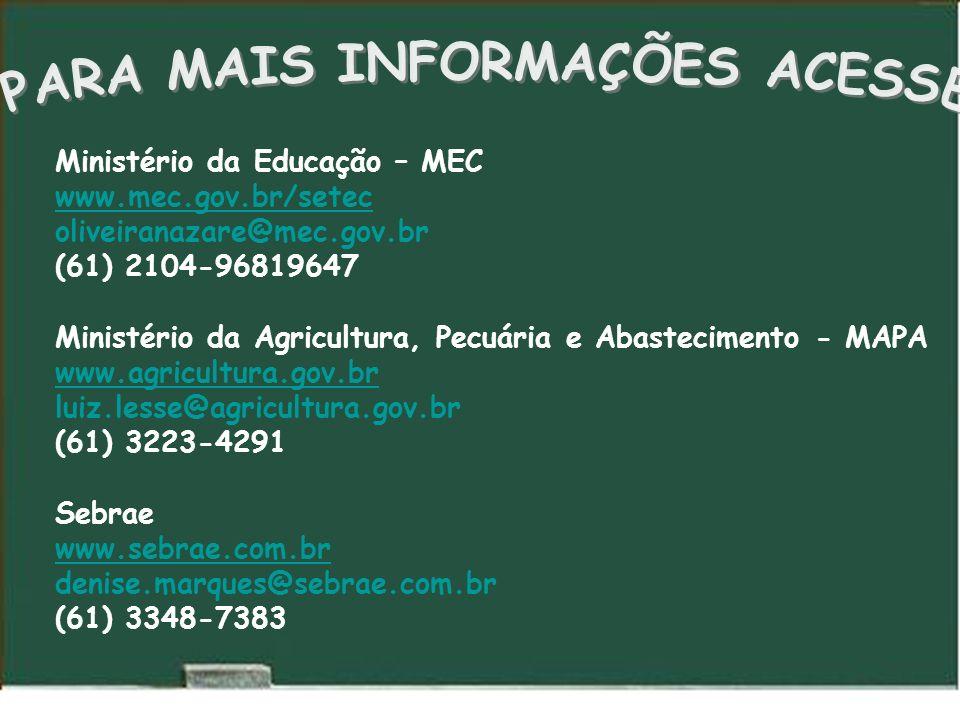 Ministério da Educação – MEC www.mec.gov.br/setec www.mec.gov.br/setec oliveiranazare@mec.gov.br (61) 2104-96819647 Ministério da Agricultura, Pecuária e Abastecimento - MAPA www.agricultura.gov.br luiz.lesse@agricultura.gov.br (61) 3223-4291 Sebrae www.sebrae.com.br www.sebrae.com.br denise.marques@sebrae.com.br (61) 3348-7383