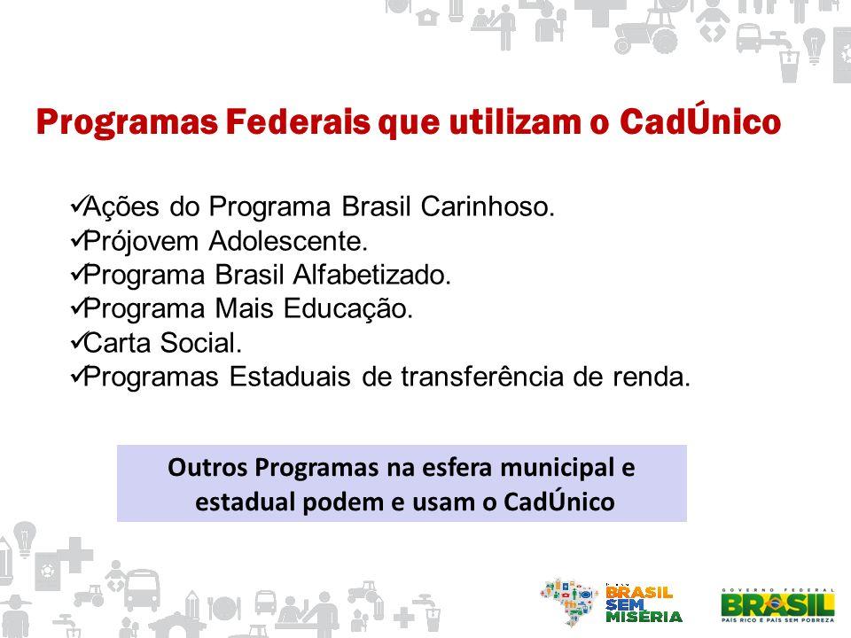 Programas Federais que utilizam o CadÚnico Ações do Programa Brasil Carinhoso. Prójovem Adolescente. Programa Brasil Alfabetizado. Programa Mais Educa