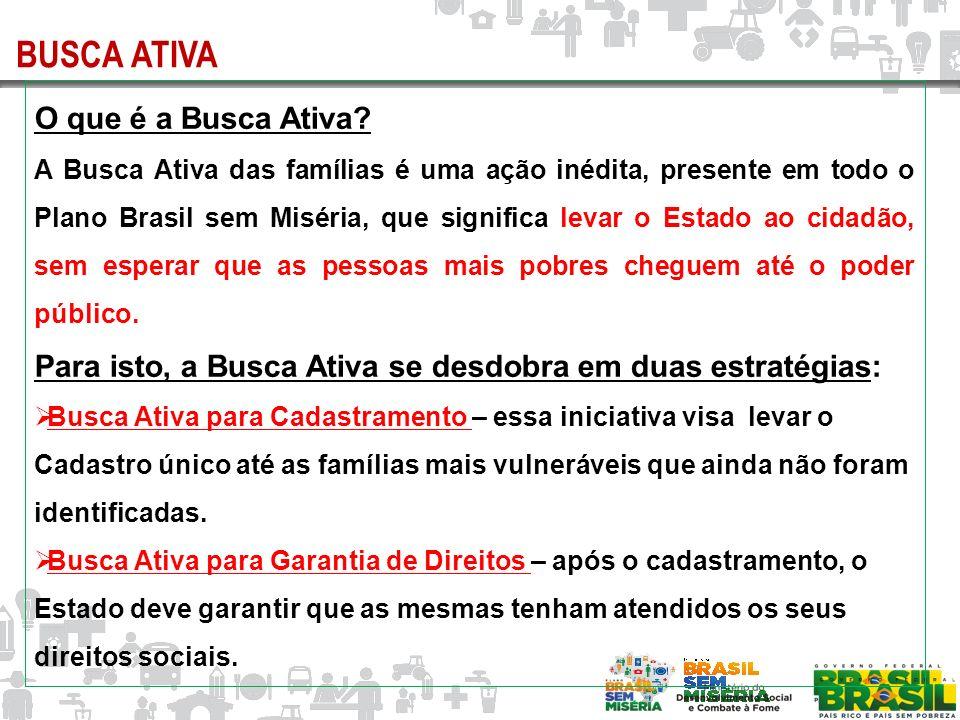 O que é a Busca Ativa? A Busca Ativa das famílias é uma ação inédita, presente em todo o Plano Brasil sem Miséria, que significa levar o Estado ao cid