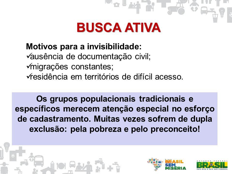 Motivos para a invisibilidade: ausência de documentação civil; migrações constantes; residência em territórios de difícil acesso. BUSCA ATIVA Os grupo