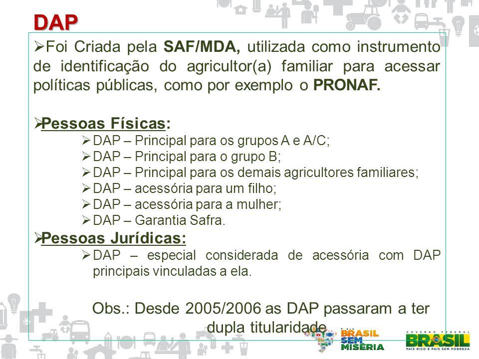 Foi Criada pela SAF/MDA, utilizada como instrumento de identificação do agricultor(a) familiar para acessar políticas públicas, como por exemplo o PRO