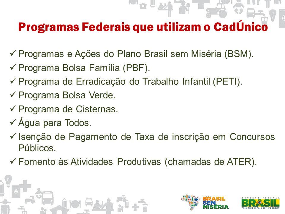 Programas e Ações do Plano Brasil sem Miséria (BSM). Programa Bolsa Família (PBF). Programa de Erradicação do Trabalho Infantil (PETI). Programa Bolsa
