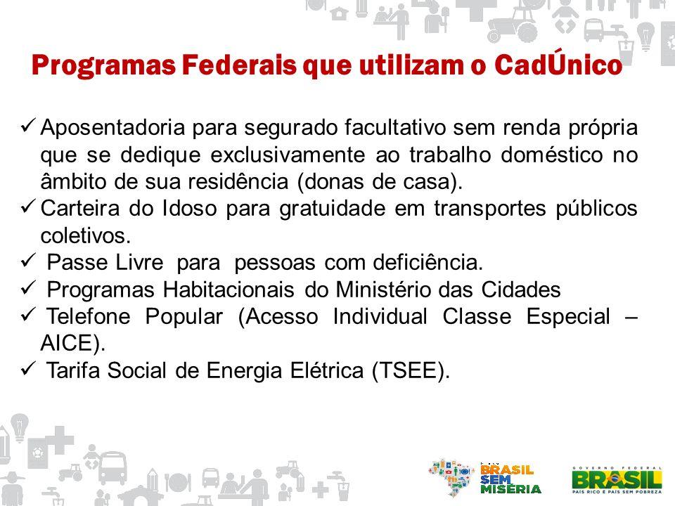 Programas Federais que utilizam o CadÚnico Ações do Programa Brasil Carinhoso.