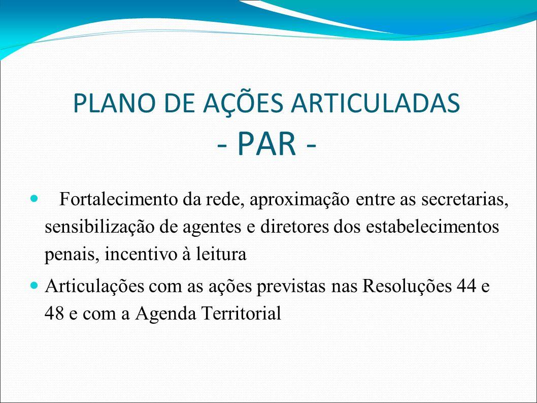 PLANO DE AÇÕES ARTICULADAS - PAR - Fortalecimento da rede, aproximação entre as secretarias, sensibilização de agentes e diretores dos estabelecimentos penais, incentivo à leitura Articulações com as ações previstas nas Resoluções 44 e 48 e com a Agenda Territorial