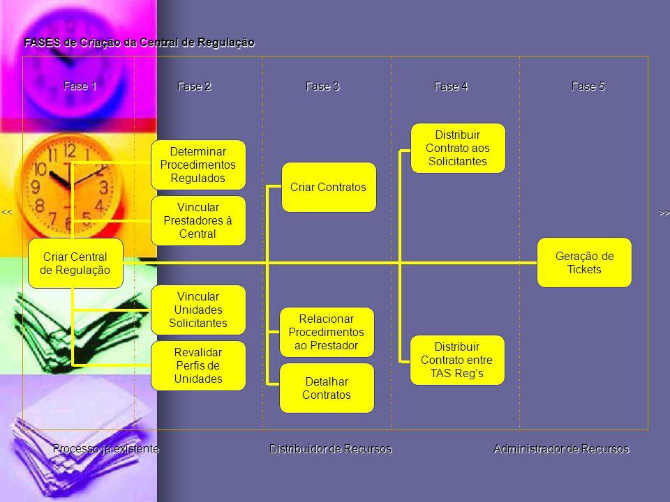 >> << Determinar Procedimentos Regulados Vincular Unidades Solicitantes Fase 1 Revalidar Perfis de Unidades Fase 2 Vincular Prestadores à Central Fase