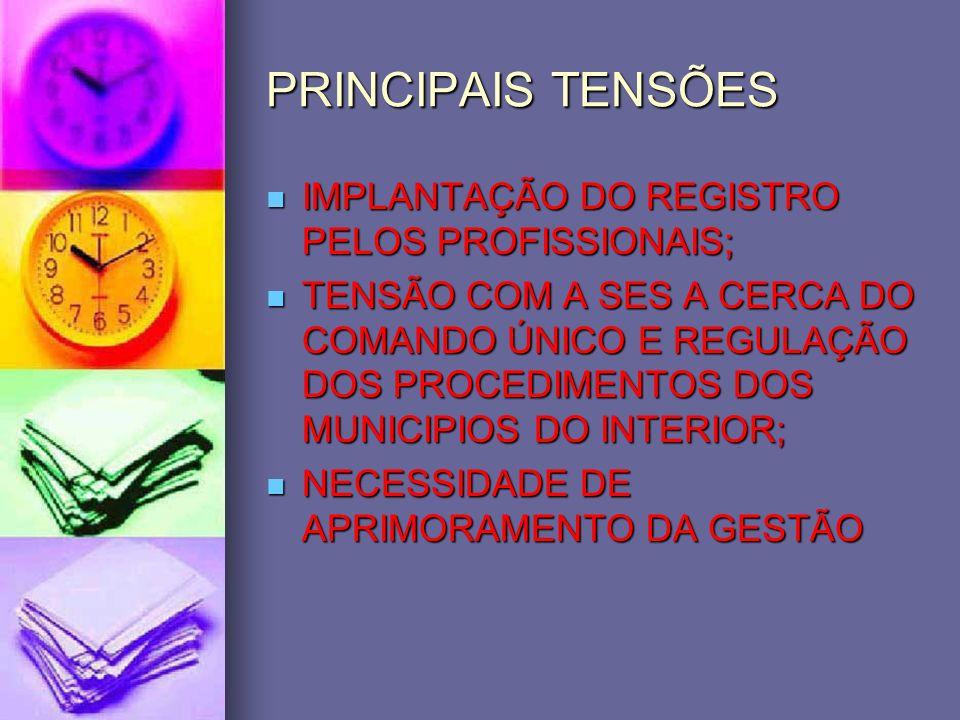 PRINCIPAIS TENSÕES IMPLANTAÇÃO DO REGISTRO PELOS PROFISSIONAIS; IMPLANTAÇÃO DO REGISTRO PELOS PROFISSIONAIS; TENSÃO COM A SES A CERCA DO COMANDO ÚNICO