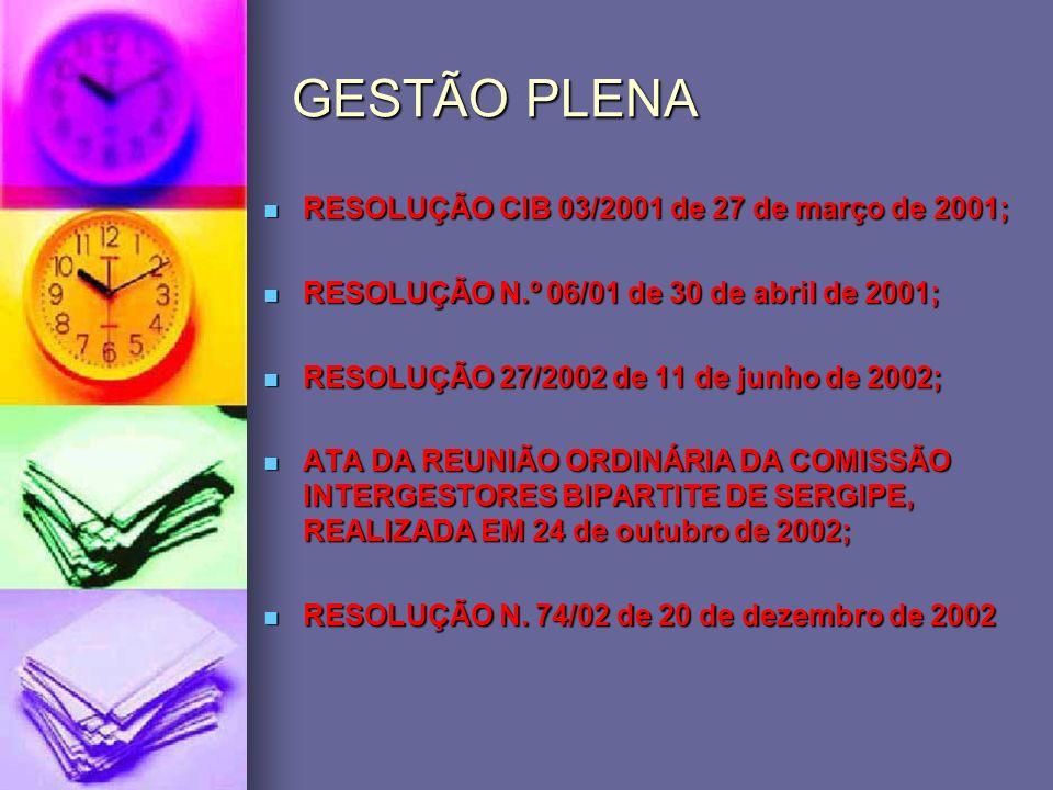GESTÃO PLENA RESOLUÇÃO CIB 03/2001 de 27 de março de 2001; RESOLUÇÃO CIB 03/2001 de 27 de março de 2001; RESOLUÇÃO N.º 06/01 de 30 de abril de 2001; R