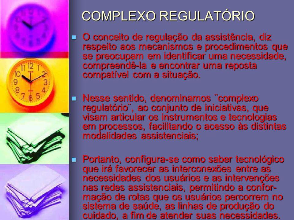 COMPLEXO REGULATÓRIO O conceito de regulação da assistência, diz respeito aos mecanismos e procedimentos que se preocupam em identificar uma necessida