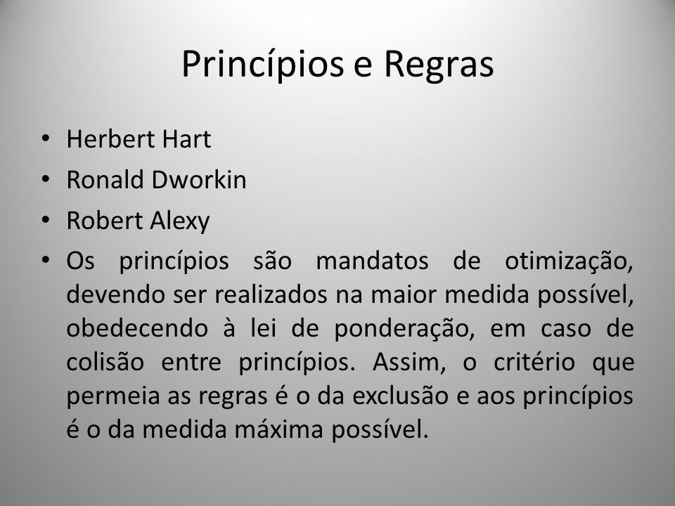 Princípios e Regras Herbert Hart Ronald Dworkin Robert Alexy Os princípios são mandatos de otimização, devendo ser realizados na maior medida possível