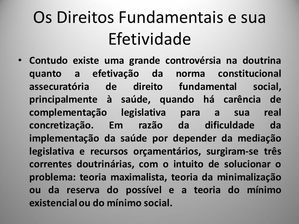 Os Direitos Fundamentais e sua Efetividade Contudo existe uma grande controvérsia na doutrina quanto a efetivação da norma constitucional assecuratóri