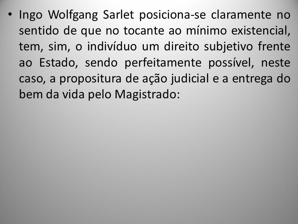 Ingo Wolfgang Sarlet posiciona-se claramente no sentido de que no tocante ao mínimo existencial, tem, sim, o indivíduo um direito subjetivo frente ao