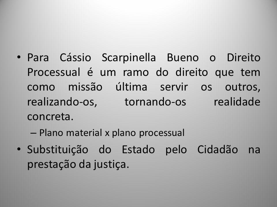 Para Cássio Scarpinella Bueno o Direito Processual é um ramo do direito que tem como missão última servir os outros, realizando-os, tornando-os realid