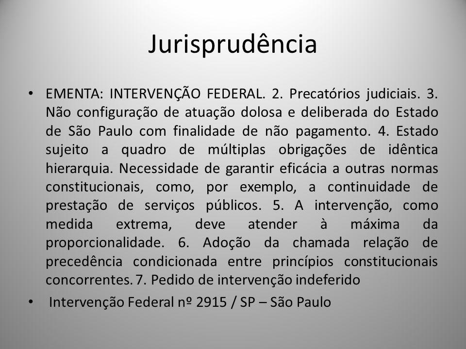 Jurisprudência EMENTA: INTERVENÇÃO FEDERAL. 2. Precatórios judiciais. 3. Não configuração de atuação dolosa e deliberada do Estado de São Paulo com fi