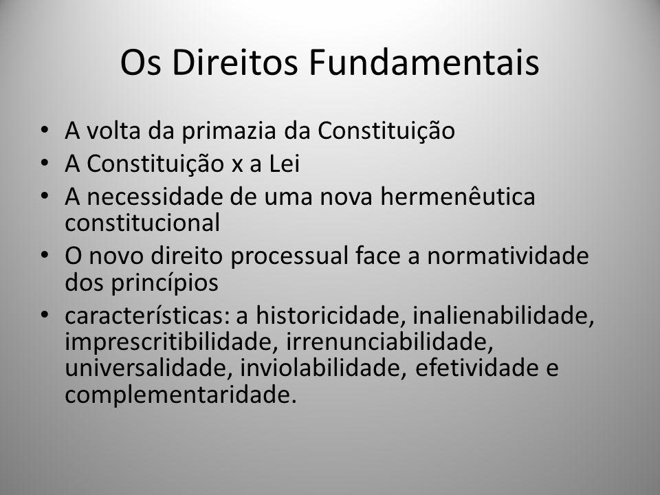 Os Direitos Fundamentais A volta da primazia da Constituição A Constituição x a Lei A necessidade de uma nova hermenêutica constitucional O novo direi