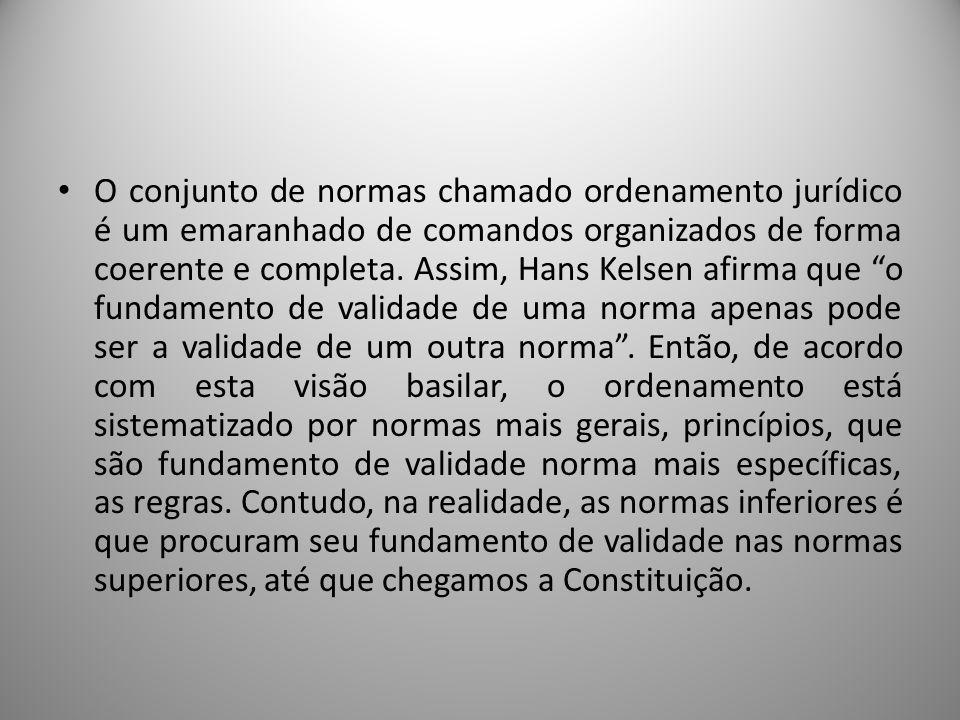 O conjunto de normas chamado ordenamento jurídico é um emaranhado de comandos organizados de forma coerente e completa. Assim, Hans Kelsen afirma que