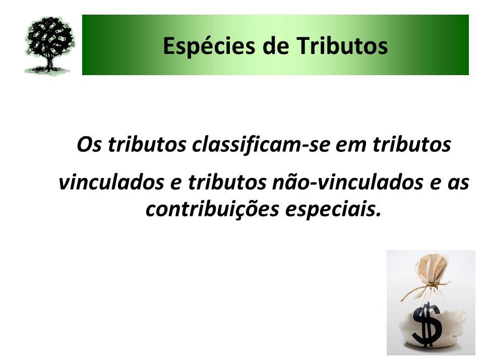Espécies de Tributos Os tributos classificam-se em tributos vinculados e tributos não-vinculados e as contribuições especiais.