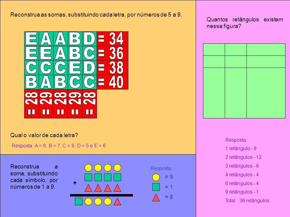 Reconstrua as somas, substituindo cada letra, por números de 5 a 9. Qual o valor de cada letra? Resposta: A = 8, B = 7, C = 9, D = 5 e E = 6 Quantos r