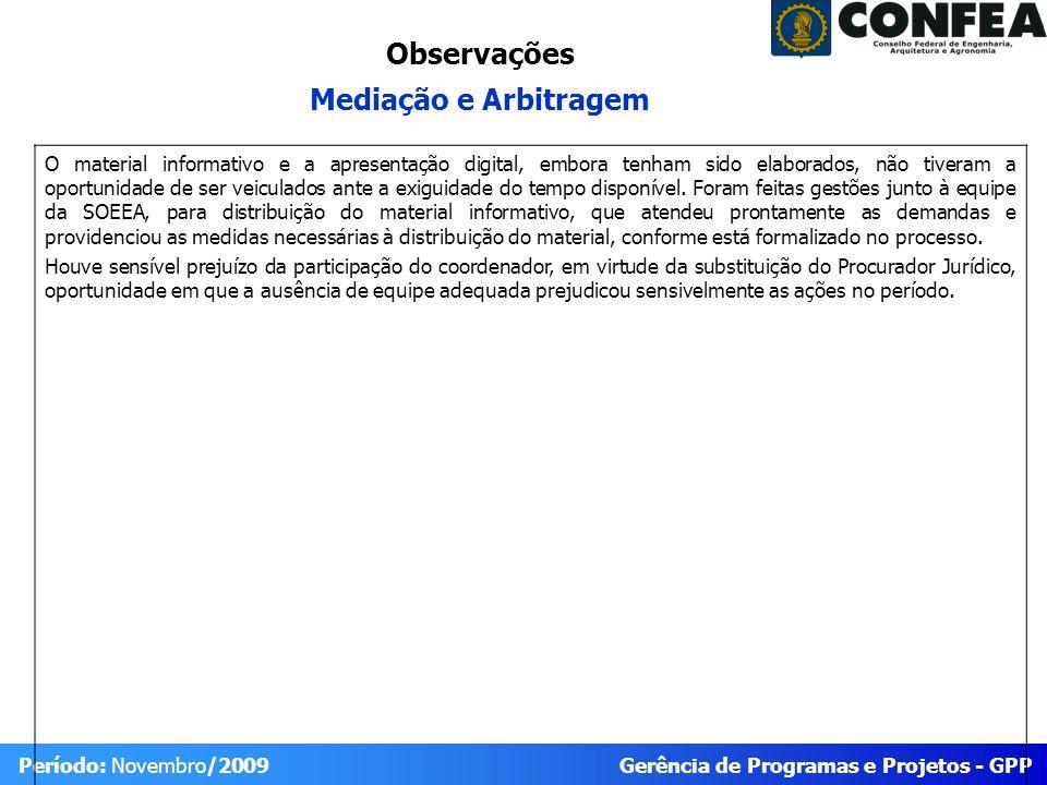Gerência de Programas e Projetos - GPP Período: Novembro/2009 O material informativo e a apresentação digital, embora tenham sido elaborados, não tive