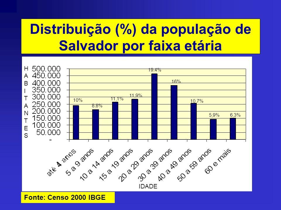 Distribuição (%) da população de Salvador por faixa etária HABITANTESHABITANTES IDADE Fonte: Censo 2000 IBGE 10% 8,8% 11,1% 11,9% 19,4% 16% 10,7% 5,9%