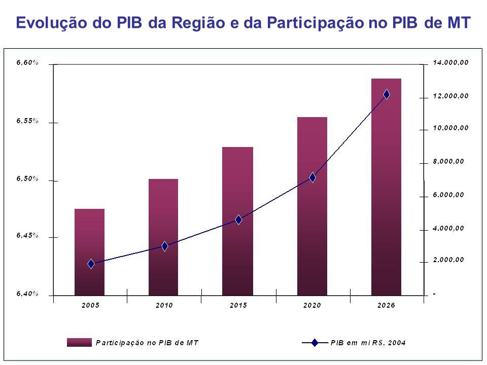 Evolução do PIB da Região e da Participação no PIB de MT