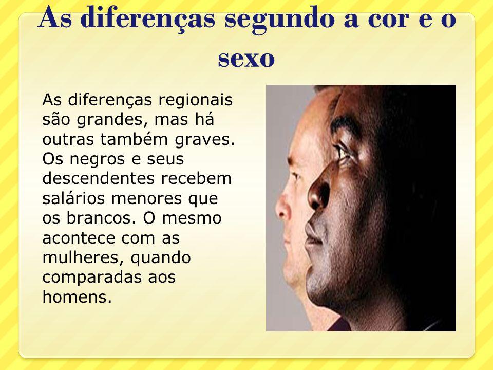 As diferenças segundo a cor e o sexo As diferenças regionais são grandes, mas há outras também graves. Os negros e seus descendentes recebem salários