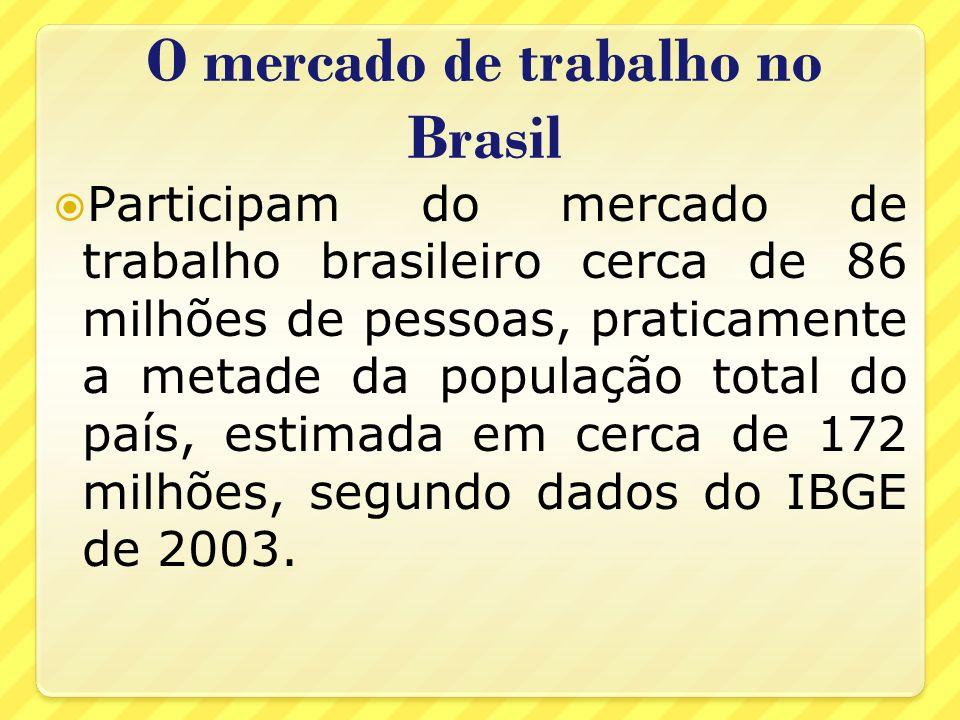 O mercado de trabalho no Brasil Participam do mercado de trabalho brasileiro cerca de 86 milhões de pessoas, praticamente a metade da população total