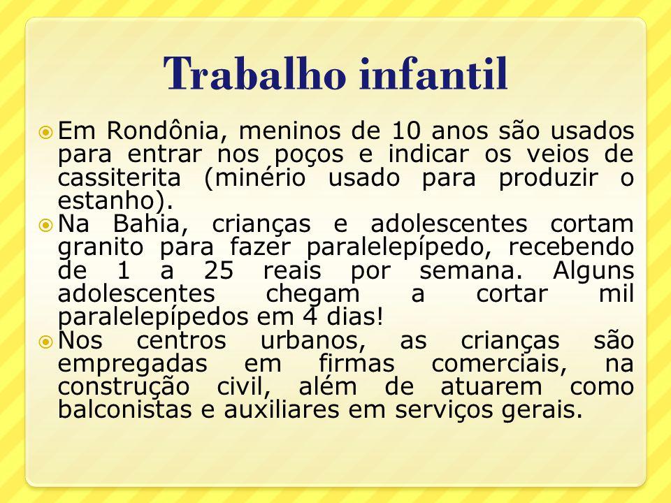 Trabalho infantil Em Rondônia, meninos de 10 anos são usados para entrar nos poços e indicar os veios de cassiterita (minério usado para produzir o es