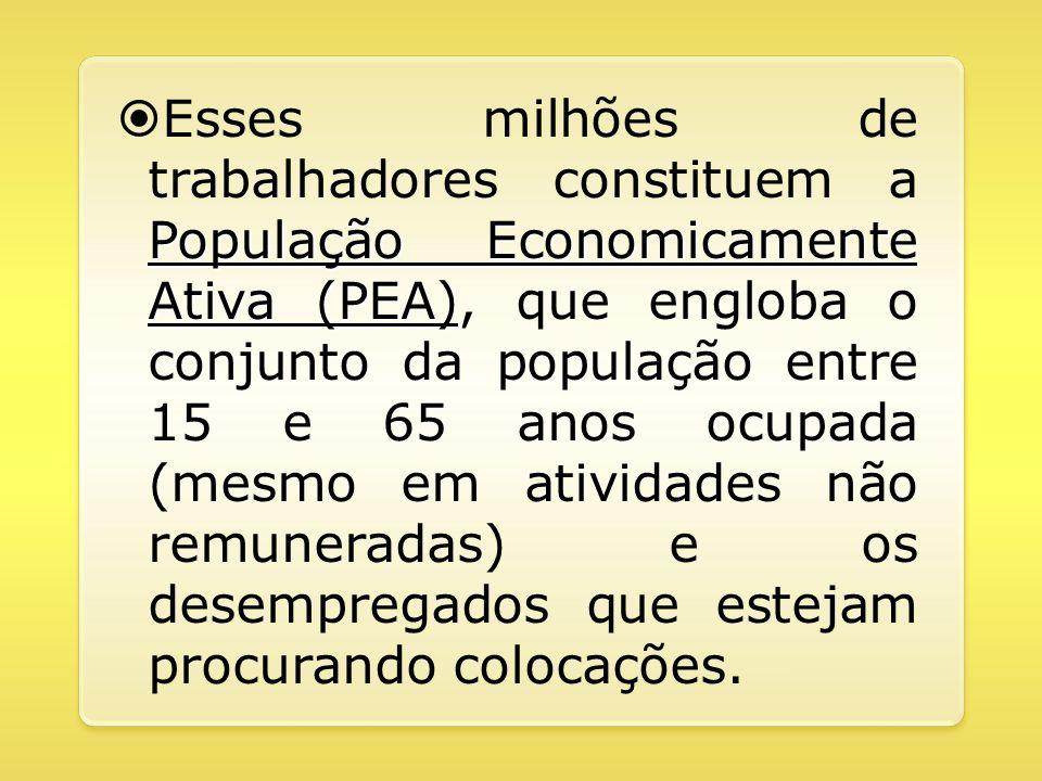 População Economicamente Ativa (PEA) Esses milhões de trabalhadores constituem a População Economicamente Ativa (PEA), que engloba o conjunto da popul