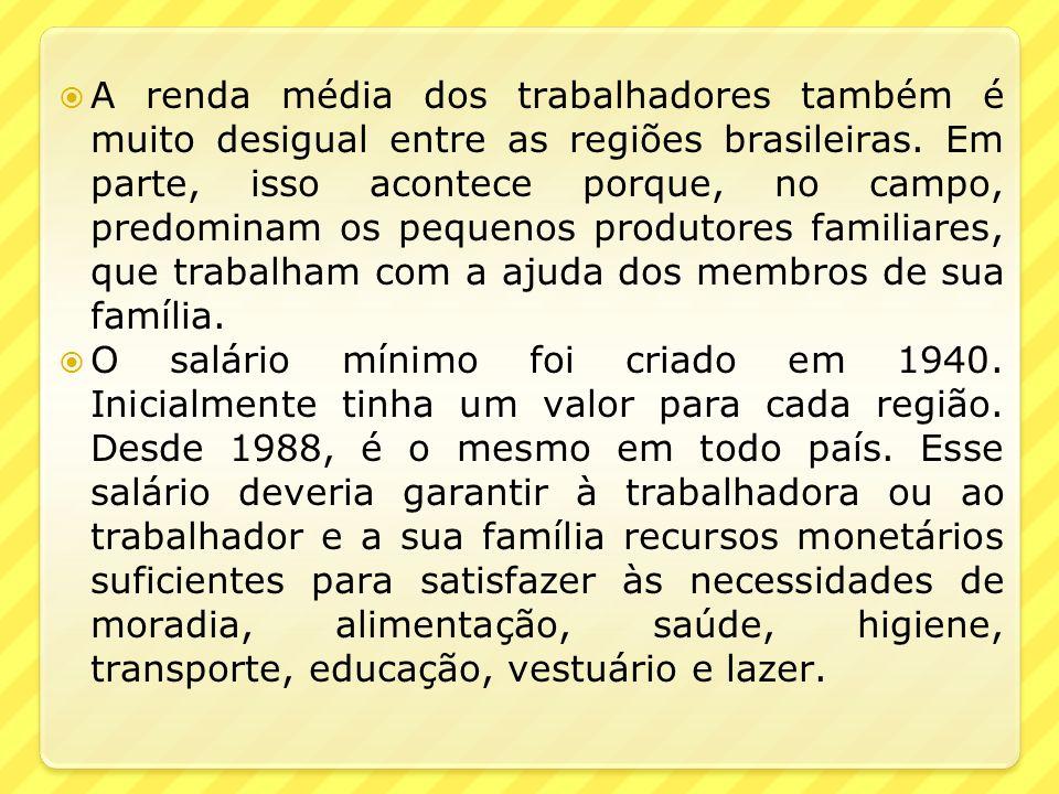 A renda média dos trabalhadores também é muito desigual entre as regiões brasileiras. Em parte, isso acontece porque, no campo, predominam os pequenos