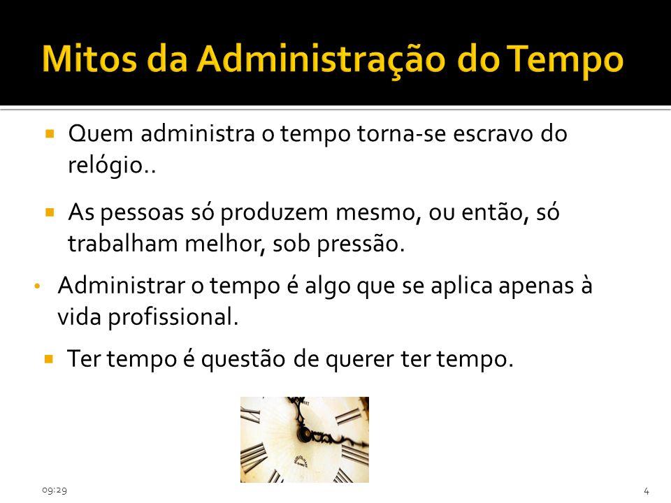 09:314 Mitos da Administração do Tempo Administrar o tempo é algo que se aplica apenas à vida profissional. Ter tempo é questão de querer ter tempo. A
