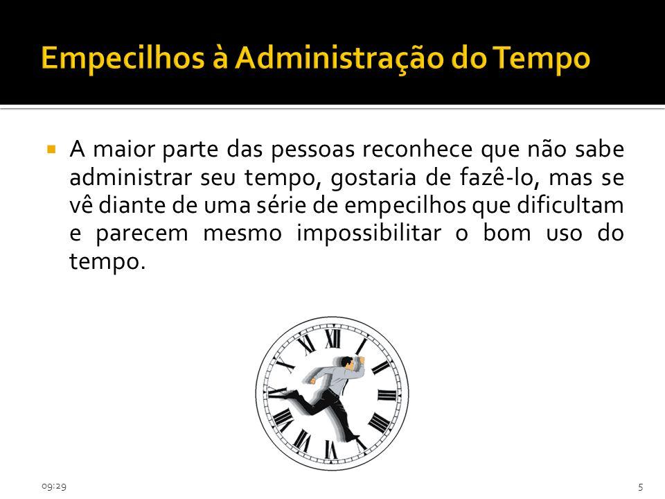 09:315 Empecilhos à Administração do Tempo A maior parte das pessoas reconhece que não sabe administrar seu tempo, gostaria de fazê-lo, mas se vê dian