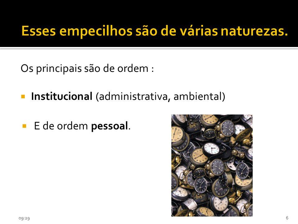 09:316 Os principais são de ordem : Institucional (administrativa, ambiental) E de ordem pessoal.