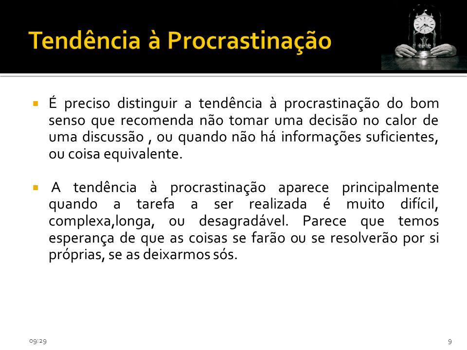 09:319 É preciso distinguir a tendência à procrastinação do bom senso que recomenda não tomar uma decisão no calor de uma discussão, ou quando não há informações suficientes, ou coisa equivalente.