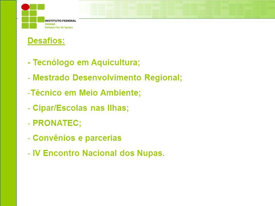 Desafios: - Tecnólogo em Aquicultura; - Mestrado Desenvolvimento Regional; -Técnico em Meio Ambiente; - Cipar/Escolas nas Ilhas; - PRONATEC; - Convêni