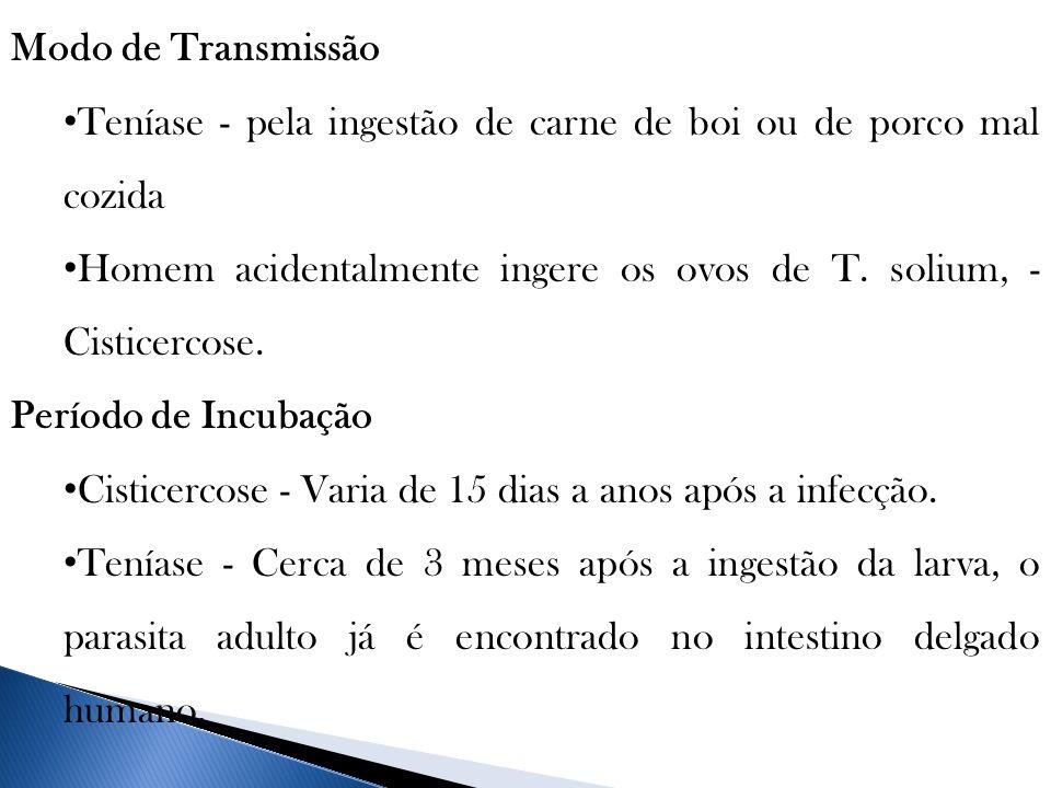 Modo de Transmissão Teníase - pela ingestão de carne de boi ou de porco mal cozida Homem acidentalmente ingere os ovos de T. solium, - Cisticercose. P