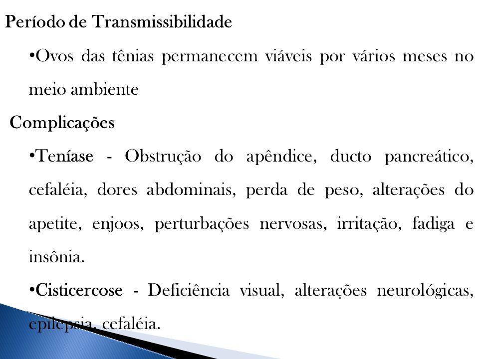 Período de Transmissibilidade Ovos das tênias permanecem viáveis por vários meses no meio ambiente Complicações Teníase - Obstrução do apêndice, ducto