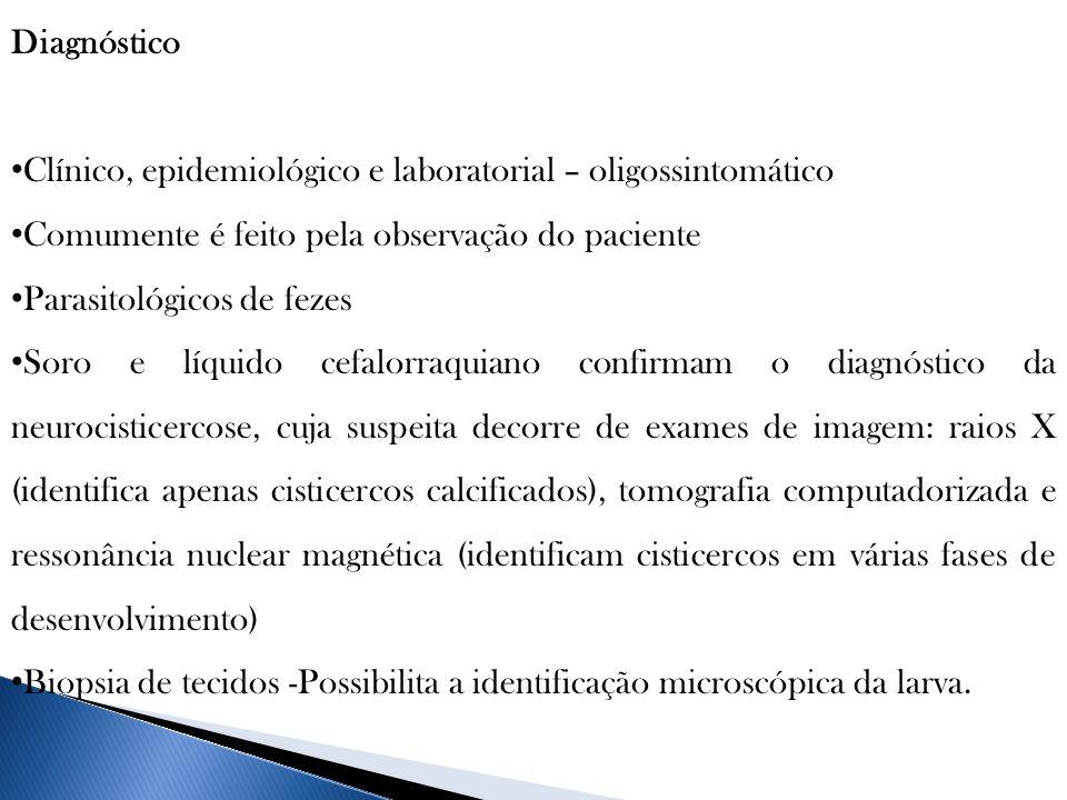 Diagnóstico Clínico, epidemiológico e laboratorial – oligossintomático Comumente é feito pela observação do paciente Parasitológicos de fezes Soro e l