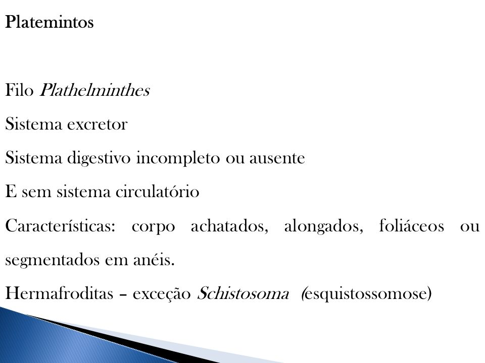 Platemintos Filo Plathelminthes Sistema excretor Sistema digestivo incompleto ou ausente E sem sistema circulatório Características: corpo achatados,