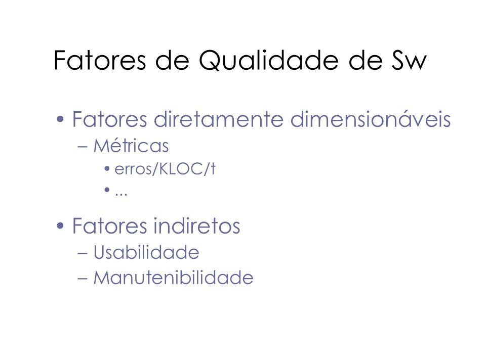 Fatores de Qualidade de Sw Fatores diretamente dimensionáveis –Métricas erros/KLOC/t... Fatores indiretos –Usabilidade –Manutenibilidade