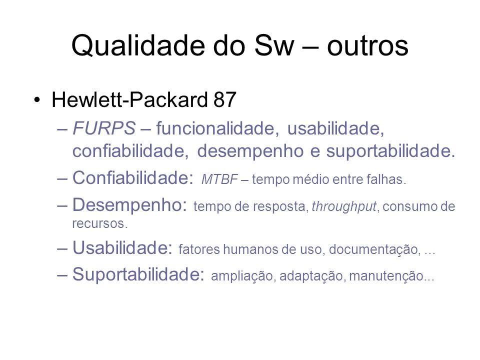 Qualidade do Sw – outros Hewlett-Packard 87 –FURPS – funcionalidade, usabilidade, confiabilidade, desempenho e suportabilidade. –Confiabilidade: MTBF