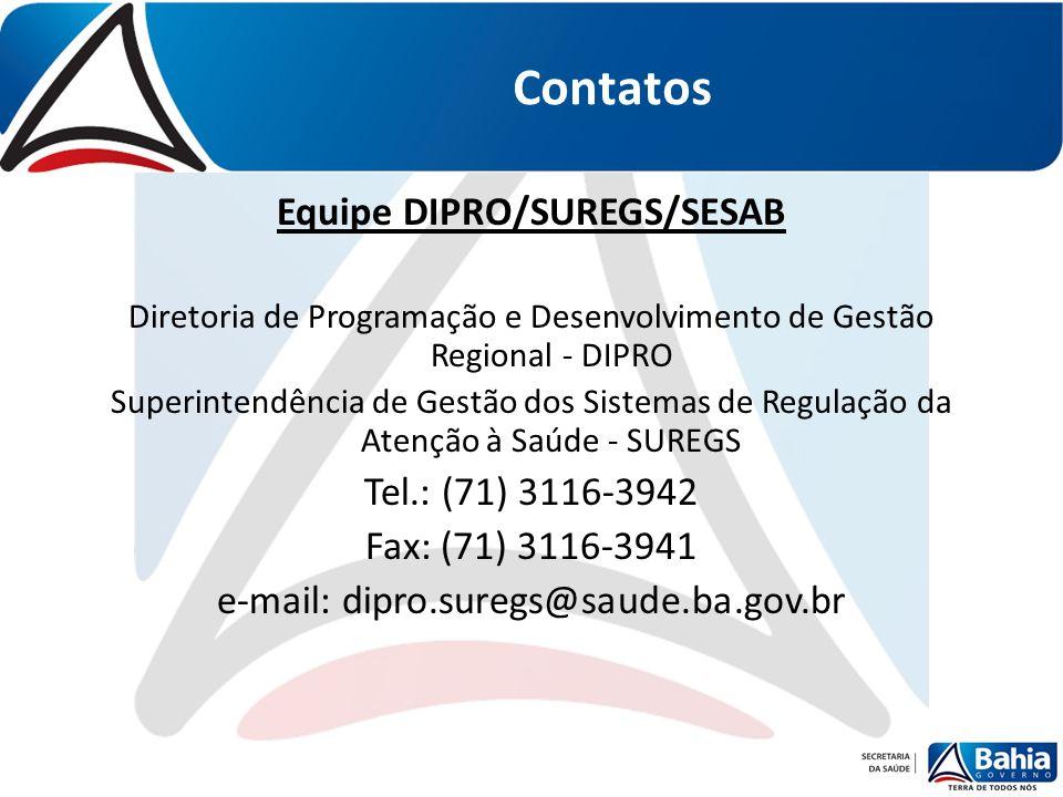 Contatos Equipe DIPRO/SUREGS/SESAB Diretoria de Programação e Desenvolvimento de Gestão Regional - DIPRO Superintendência de Gestão dos Sistemas de Re