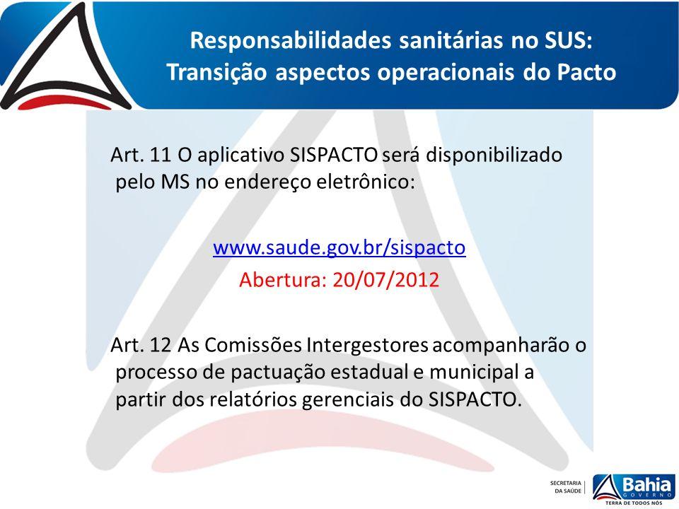 Responsabilidades sanitárias no SUS: Transição aspectos operacionais do Pacto Art. 11 O aplicativo SISPACTO será disponibilizado pelo MS no endereço e