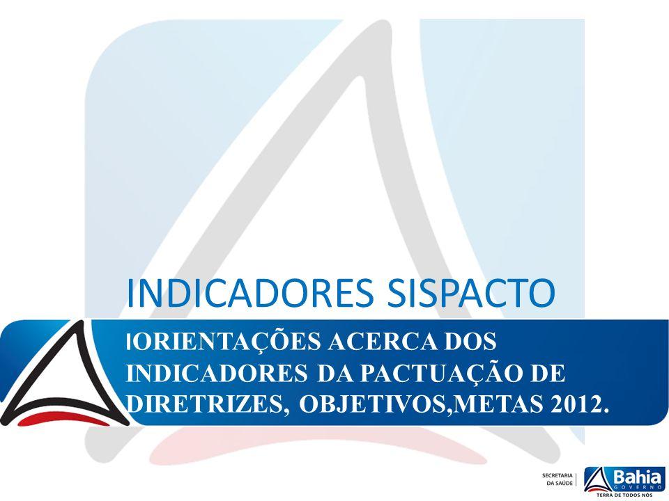 I ORIENTAÇÕES ACERCA DOS INDICADORES DA PACTUAÇÃO DE DIRETRIZES, OBJETIVOS,METAS 2012. INDICADORES SISPACTO