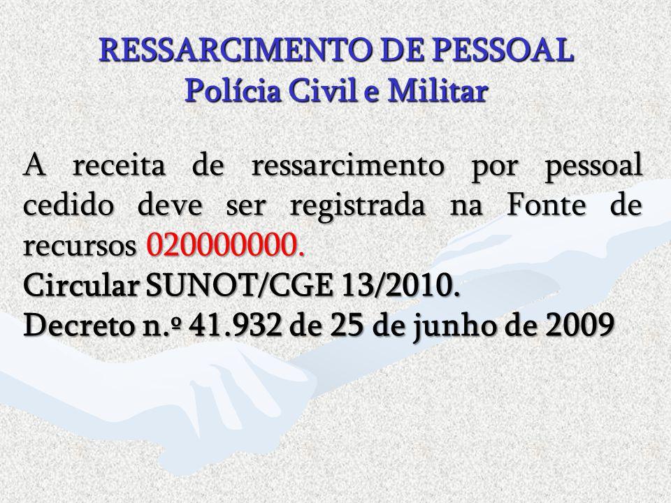 A receita de ressarcimento por pessoal cedido deve ser registrada na Fonte de recursos 020000000. Circular SUNOT/CGE 13/2010. Decreto n.º 41.932 de 25